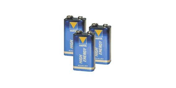 Set of 3 alkaline batteries 9V (6LR61)
