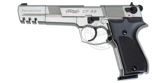 Pistolet CO2 4,5 mm WALTHER CP88 Competition 6'' Nickelé (4 joules)