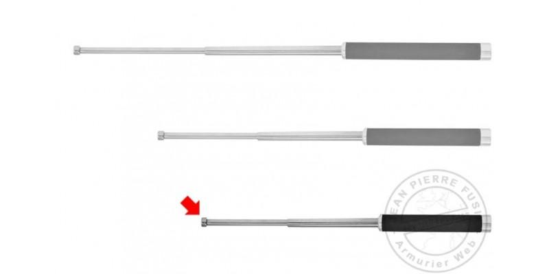 Matraque télescopique rigide PIRANHA - Light - nickelée - 18 pouces - Poignée mousse