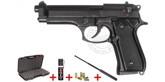 BRUNI Mod. 92 blank firing pistol - Black - 9mm blank bore + defence kit