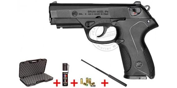BRUNI Mod. P4 blank firing pistol - Black - 9mm blank bore + defence kit