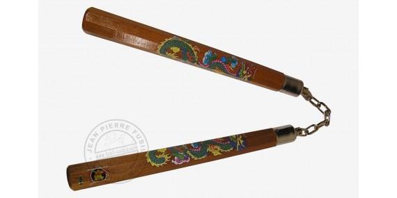 Nunchaku bois octogonal chaîne - Marron décor dragon