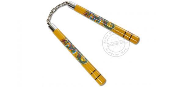 Nunchaku wood chain - Yellow - Dragon decoration