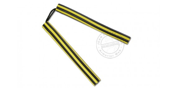 Rubber Nunchaku - Rope - Black and yellow stripes