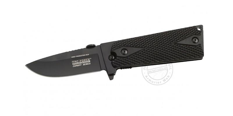 Couteau TAC FORCE - Combat Series - Lame noire - Plaquettes noires