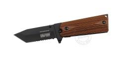 Couteau TAC FORCE - Combat Series - Lame tanto noire - Plaquettes façon bois