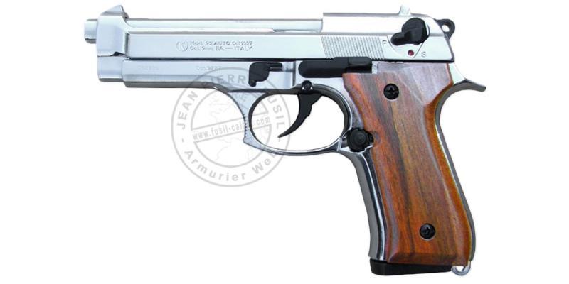 Pistolet alarme KIMAR Mod. 92 nickelé - Crosse bois - Cal. 9mm