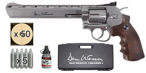 CO2 ASG Dan Wesson 8'' CO2 revolver kit -Silver - Wooden grip - .177 bore (3 joules) - PROMOTION