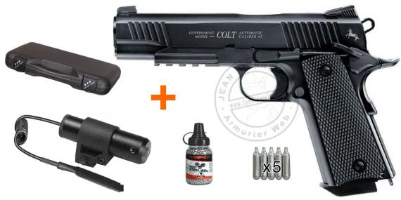 Kit Pistolet 4,5 mm CO2 UMAREX - Colt M45 CQBP (2,7 joules) - PROMO