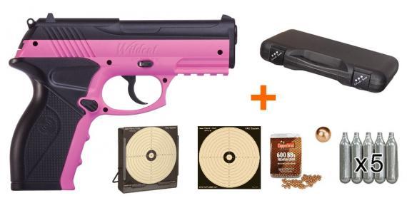 Kit pistolet 4,5 mm CO2 CROSMAN P10 Wildcat Pink (3.5 joules) - PROMOTION NOËL