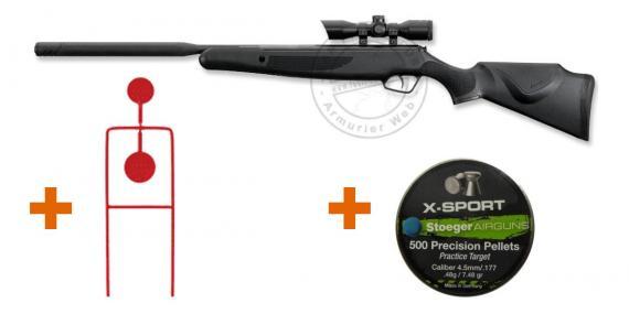 Pack carabine 4,5 mm STOEGER X20 Suppressor Combo (19.9 joules) - PROMO DE NOEL