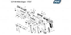 Pistolet 4,5 mm CO2 ASG CZ P-09 Duty - Blowback (3.7 joules)