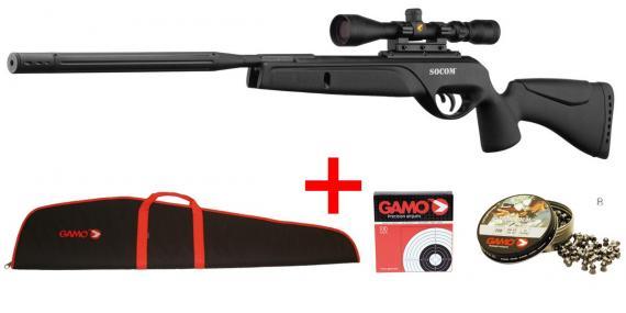 GAMO Bull Whisper Socom Air Rifle kit (19.9 joules) - .177 rifle bore - CHERRY PACK