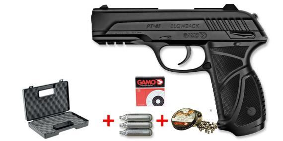 Kit Pistolet 4,5 mm CO2 GAMO PT-85 Blowback (3,98 joules) - PACK CERISE