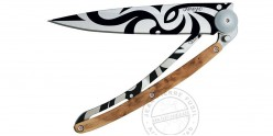 DEEJO TATTO knife 37g - MAORI motif - Juniper wood