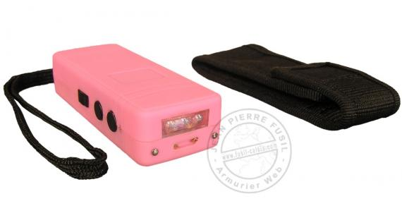 Police Security stun gun 1 000 000 V - mini + led - Rechargeable - Pink