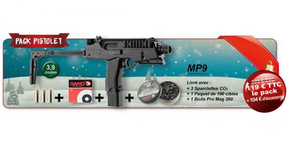 Kit Pistolet à plomb CO2 4.5 mm GAMO MP-9 (3.98 Joules) - PACK PROMO