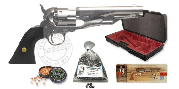 Kit Revolver PIETTA Police Pony Express 1862 nickel Cal. 36 - Canon 5'' - PROMO NOEL