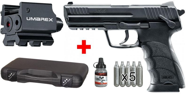 HECKLER & KOCH HK45 CO2 pistol pack - .177 bore (2.6 joules) - PROMO PACK