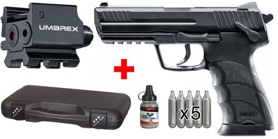 Kit pistolet 4,5 mm CO2 HECKLER & KOCH HK45 (2,6 joules) - PACK PROMO