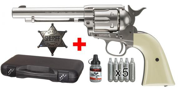 Kit revolver 4,5 mm CO2 UMAREX Colt Single Action Army 45 - Finition nickelée - PACK PROMO