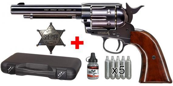 Kit revolver 4,5 mm CO2 UMAREX Colt Single Action Army 45 - Finition bleutée - PACK PROMO