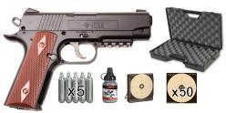 Kit pistolet 4,5 mm CO2 CROSMAN 1911 BB (3,5 joules) - PROMO