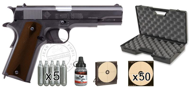 Kit pistolet 4,5 mm CO2 CROSMAN GI Model 1911 BB (3,2 joules) - PROMO