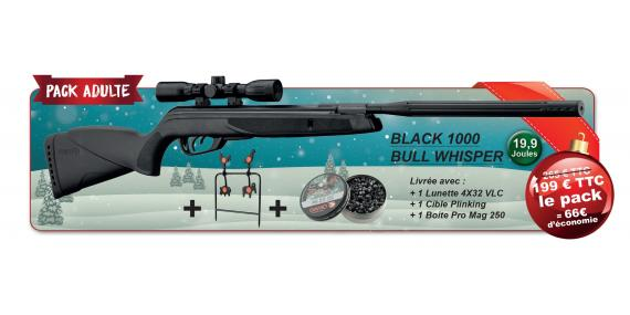 GAMO Black 1000 Bull Whisper Air Rifle kit (19.9 joules) - .177 rifle bore - PROMO