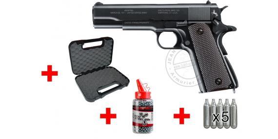 Kit pistolet CO2 4,5mm COLT 1911 A1 Commemorative (1,5 Joules) - PROMO