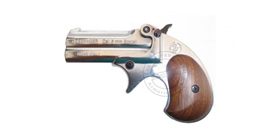 KIMAR Derringer blank firing pistol - Nickel - 6mm blank bore