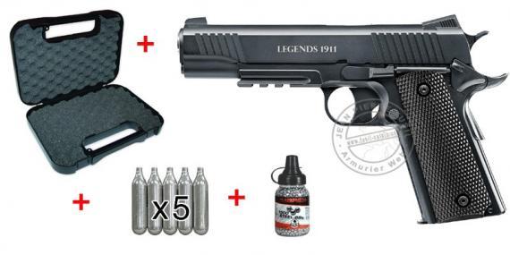 Kit pistolet à plomb CO2 4.5 mm UMAREX Legends 1911 (2,6 Joules)