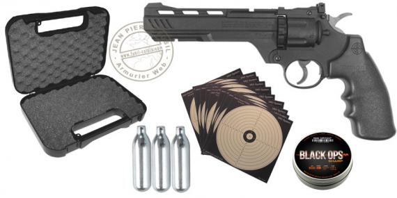 Kit Revolver à plomb 4,5 mm CO2 CROSMAN CR357 6'' noir (3,9 joules) - PROMO
