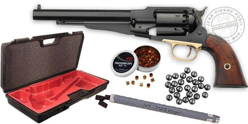 Kit Revolver PIETTA Remington 1858 Acier Cal. 44 - Canon 8'' - PACK PROMO