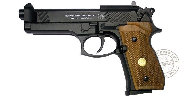 Pistolet 4,5 mm CO2 UMAREX - BERETTA 92 noir - crosse bois (3,5 joules)