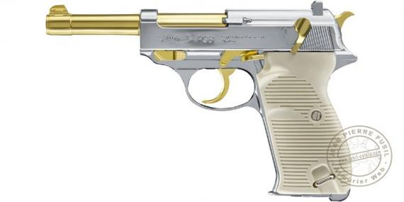 Pistolet à plomb CO2 4.5 mm WALTHER P38 Blowback - Gold Edition (3 Joules max)