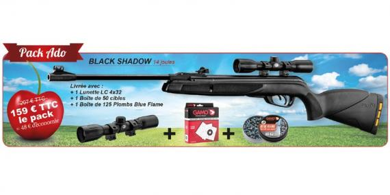 Kit carabine à plombs GAMO Black Shadow (14 Joules) + Lunette 4x32 - PACK CERISE 2018