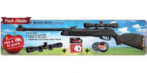 Kit carabine à plombs GAMO Black Bear (19,9 Joules) + Lunette 4x32 - PACK CERISE 2018