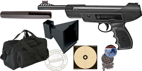 Kit Pistolet à plomb 4,5 mm RUGER MARK I (7,5 Joules max) - PACK PROMO NOEL 2018