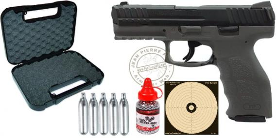 Kit pistolet à plomb CO2 4.5 mm HECKLER & KOCH VP9 Gris Tungstène (2 joules) - PACK PROMO NOEL 2018