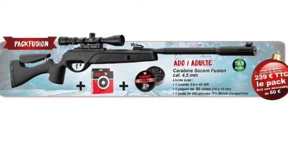 Kit carabine à plombs 4,5 mm GAMO Socom Fusion (19,9 Joules) - PACK PROMO NOEL 2018
