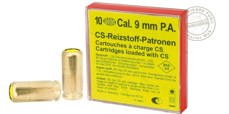 9 mm CS gas pistol cartridges 10