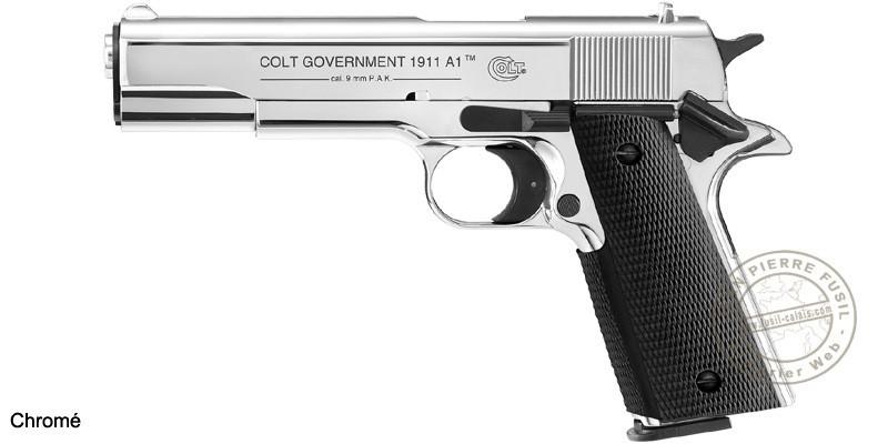 Pistolet d'alarme Umarex COLT Government 1911 A1 Cal. 9 mm - Chromé