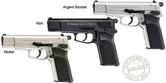 Pistolet d'alarme Umarex BROWNING GPDA Cal. 9 mm - Noir, Nickelé ou Argent Brossé