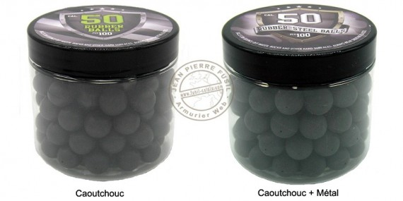 Box of 100 balls caliber .50 - Rubber or steel rubber