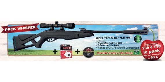 Kit carabine à plombs 4,5 mm GAMO Whisper X IGT (19,9 Joules) + Lunette 4x32 - PACK CERISE 2019