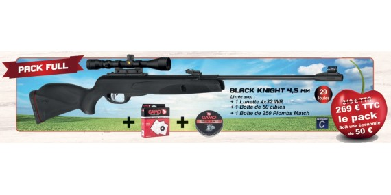 Kit carabine à plombs 4,5 mm GAMO Black Knight (29 Joules) + Lunette 4x32 - PACK CERISE 2019