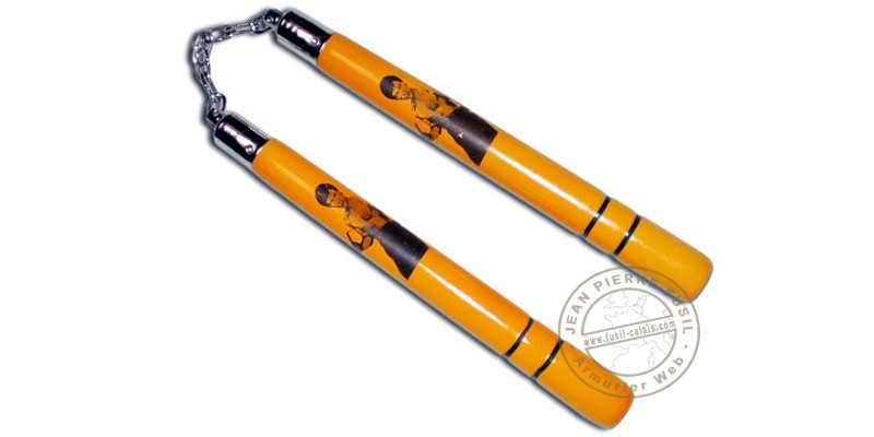 Nunchaku wood chain - Bruce Lee - Yellow - 32 cm