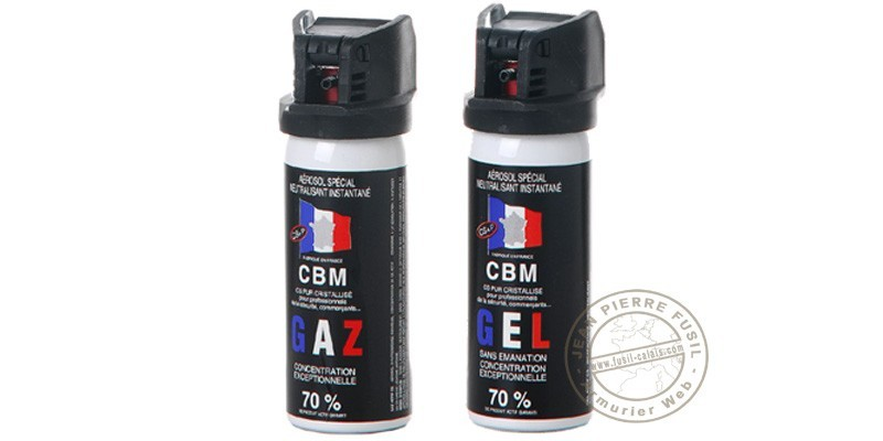 Lot de 2 bombes de défense 50ml Gaz CS + 50 ml Gel CS - PROMOTION