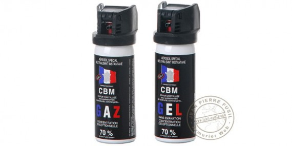 Lot de 2 bombes lacrymogènes 50ml Gaz CS + 50 ml Gel CS - PROMOTION